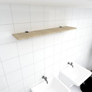 Prateleira para lavanderia MDF suporte tucano cor amadeirado claro 90(C)x20(P)cm modelo pratlvamc07