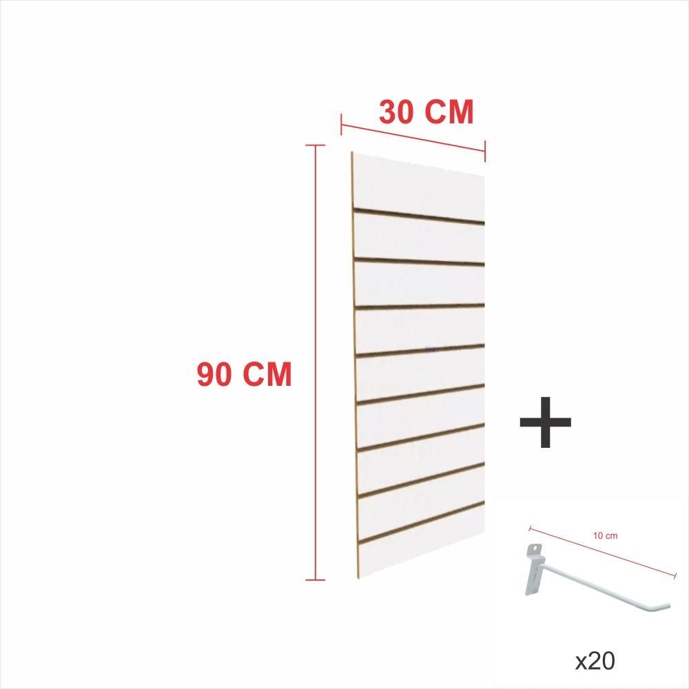 Expositor canaletado branco alt 90 cm comp 30 cm mais 20 ganchos 10 cm