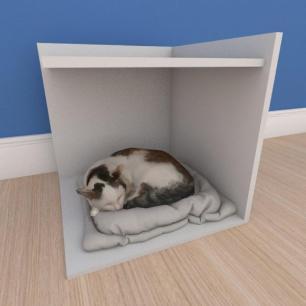 Mesa de cabeceira caminha pequeno gato em mdf cinza