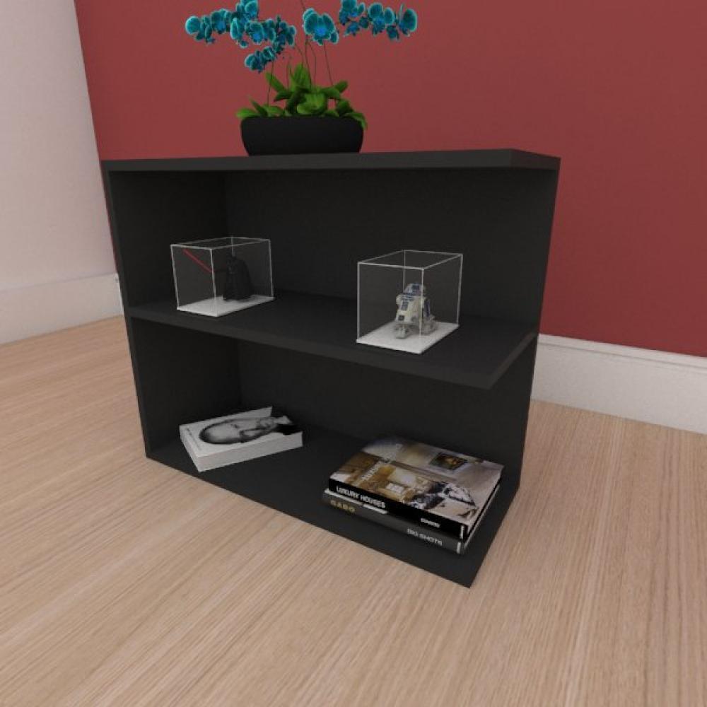 Mesa de cabeceira simples moderna em mdf preto