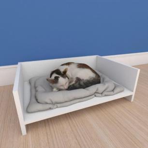 Mesa de cabeceira caminha pequeno gato em mdf branco