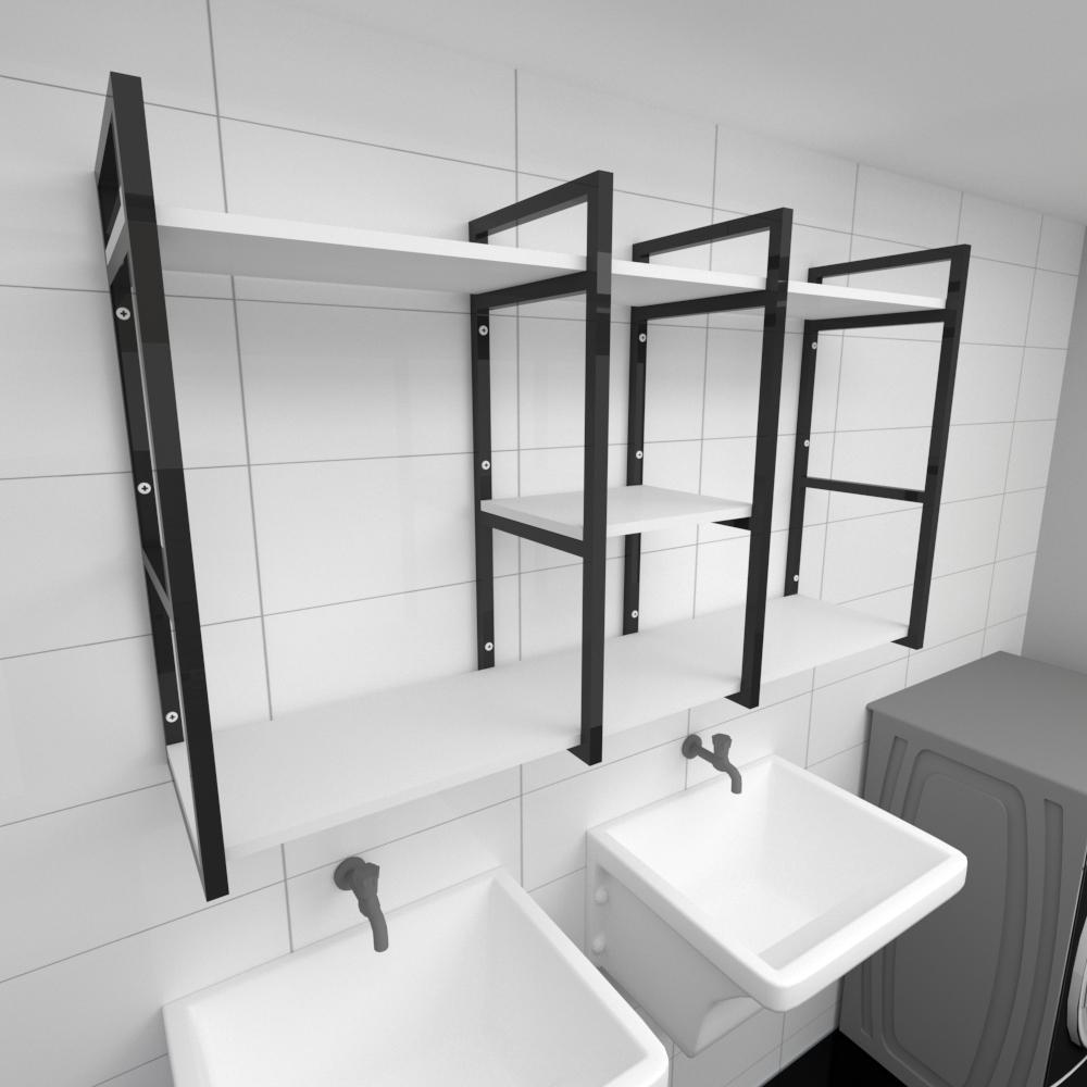 Prateleira industrial para lavanderia aço cor preto prateleiras 30cm cor branca modelo ind18blav