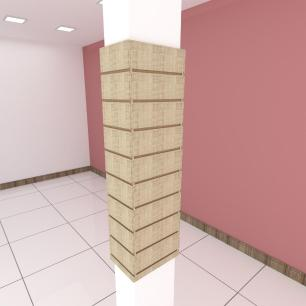 Kit 4 Painel canaletado para pilar amadeirado claro 2 peças 24(L)x120(A)cm + 2 peças 30(L)x120(A)cm
