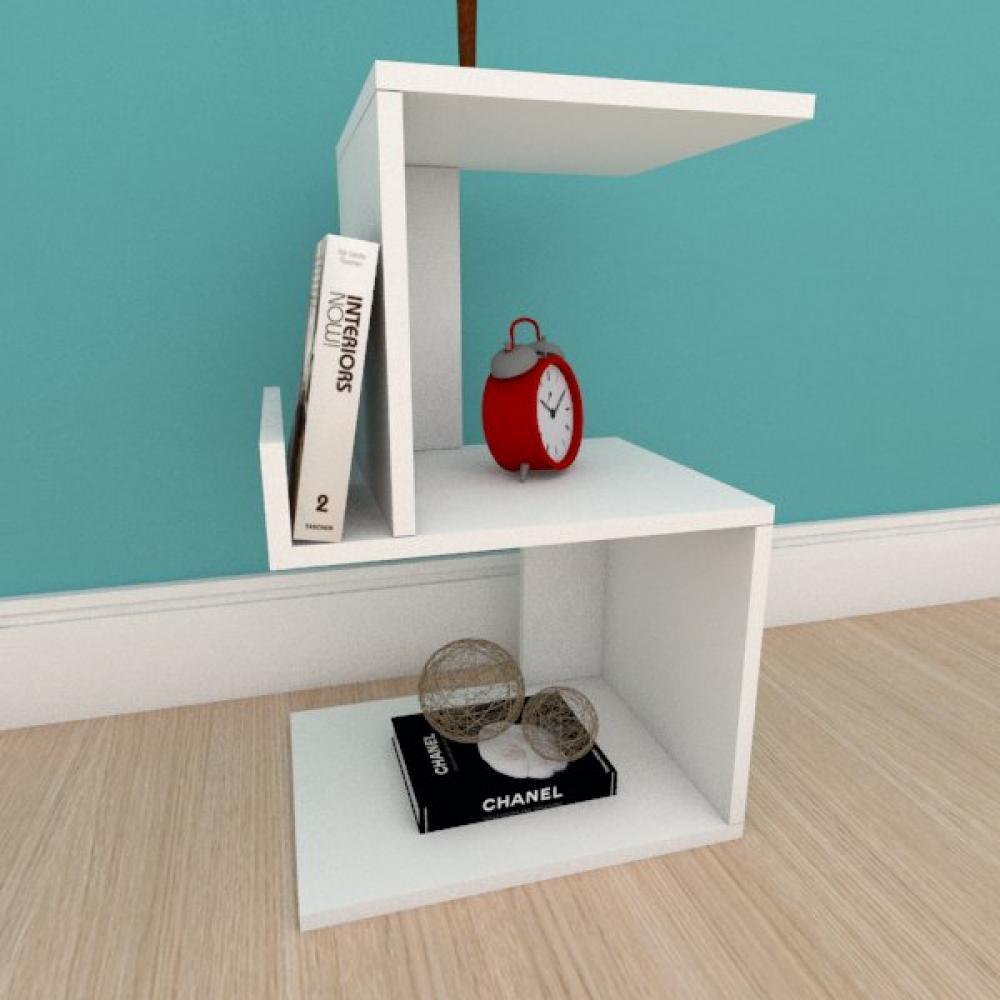 Mesa de cabeceira com suporte para livros em mdf branco