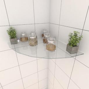 Kit com uma Prateleira para cozinha de canto 40 cm vidro temperado
