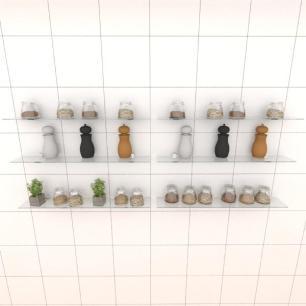 Kit com seis Prateleira para cozinha 60 cm vidro temperado