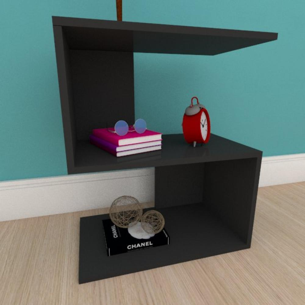 Estante de Livros compacta em formato de S em mdf preto