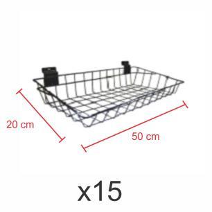 Kit com 15 Cestos para painel canaletado 20x50 cm preto