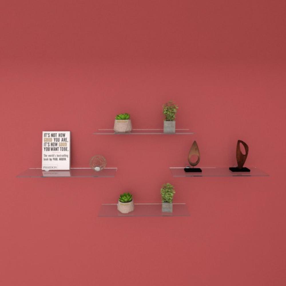 Kit com quatro Prateleira para sala 40 cm vidro temperado