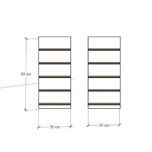 Kit 2 Painel canaletado para pilar amadeirado escuro 2 peças 30(L)x60(A) cm