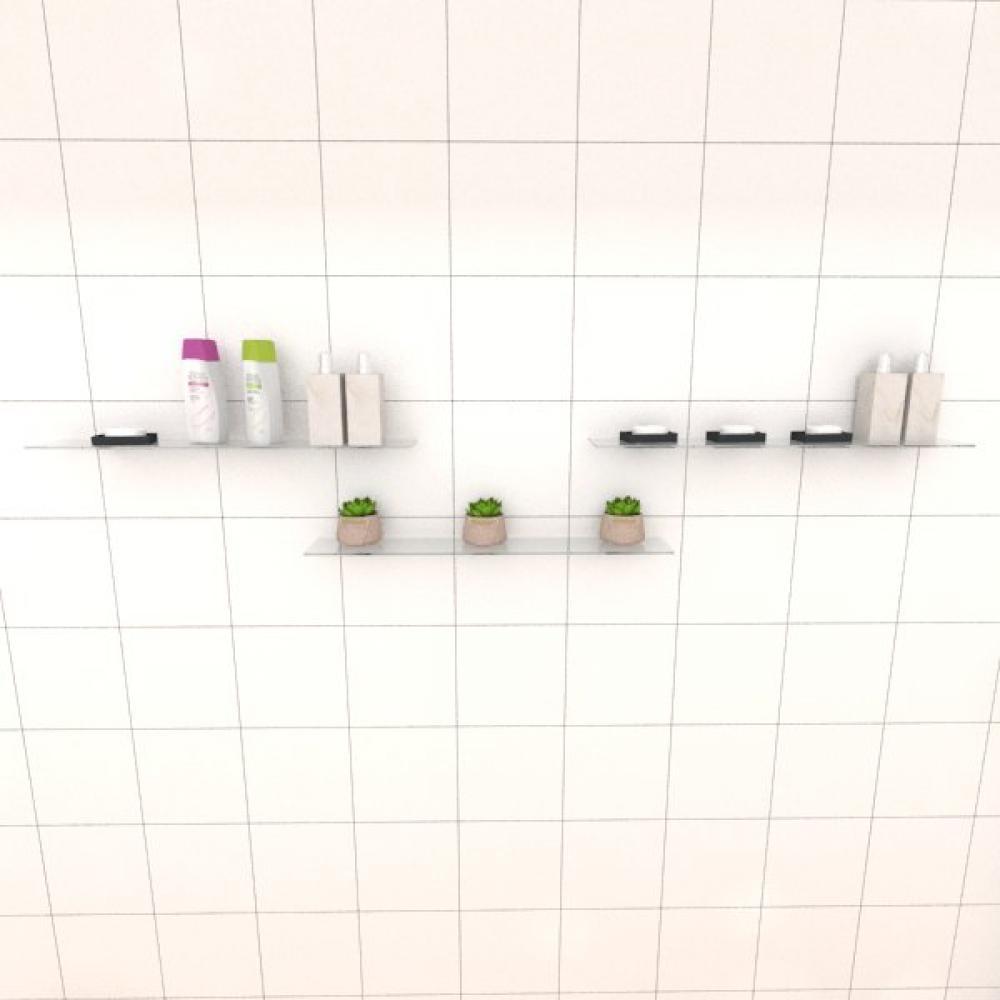 Kit com tres Prateleira para banheiro 60 cm vidro temperado