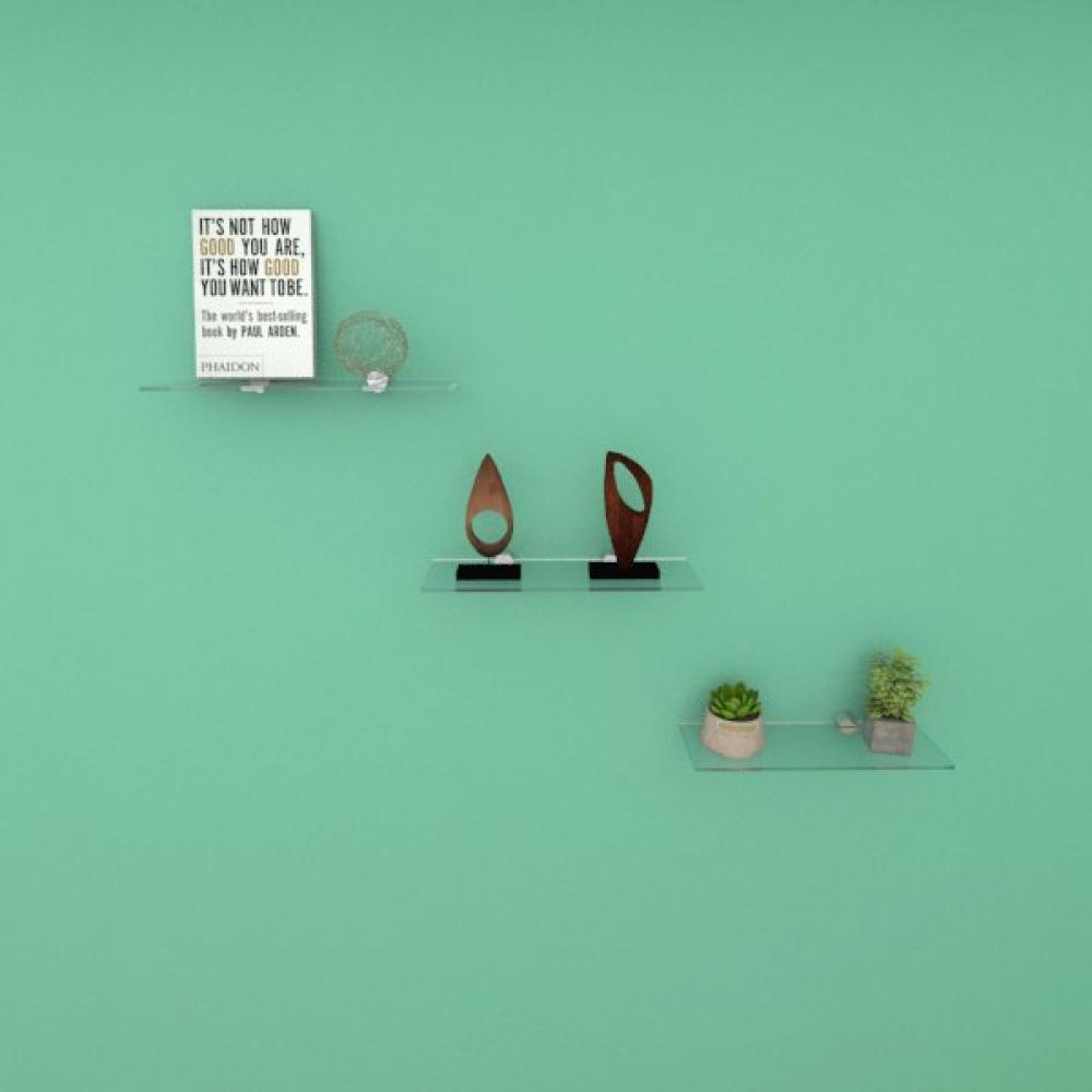 Kit com tres Prateleira para escritório 30 cm vidro temperado