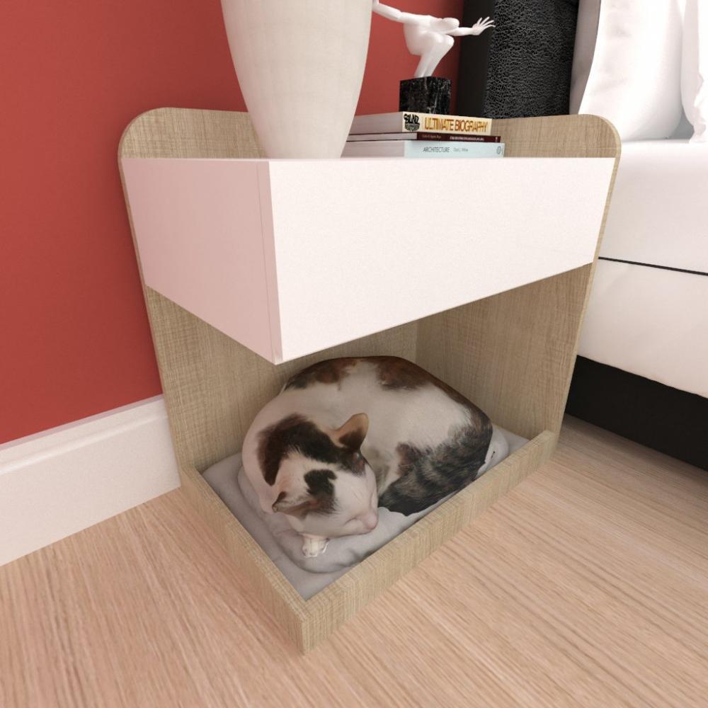 caminha criado gato gaveta mdf cor Amadeirado claro branco