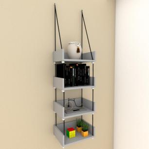 Quatro nicho prateleiras moderna com cordas, mdf Cinza