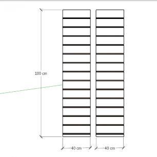Kit 2 Painel canaletado para pilar vermelho escuro 2 peças 40(L)x180(A)cm