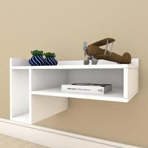 Estante escritório pequeno com nichos em mdf Branco
