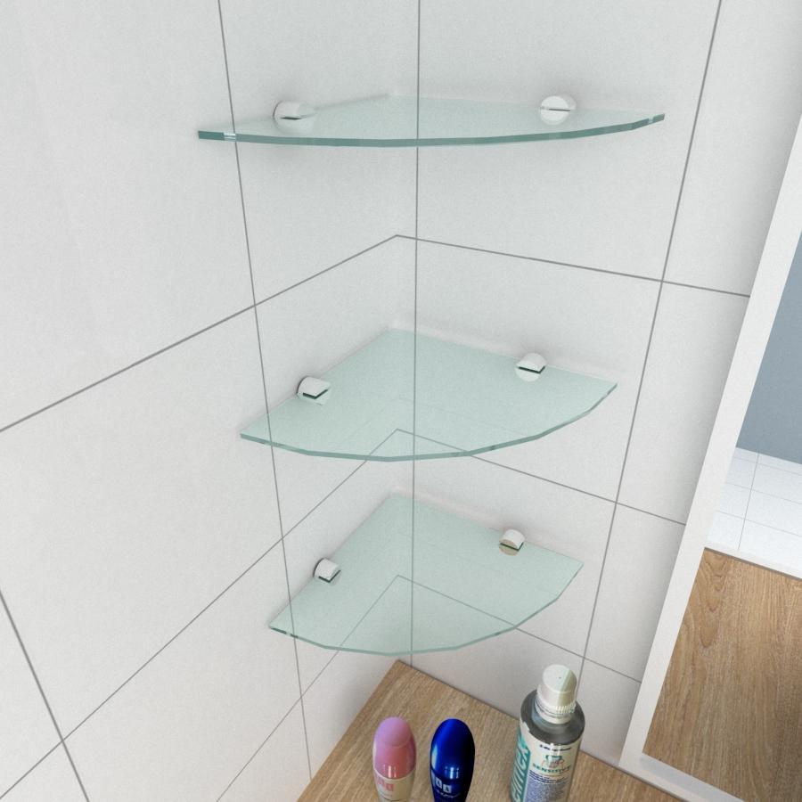kit com 3 Prateleira para canto de vidro temperado para banheiro profundidade 20 cm