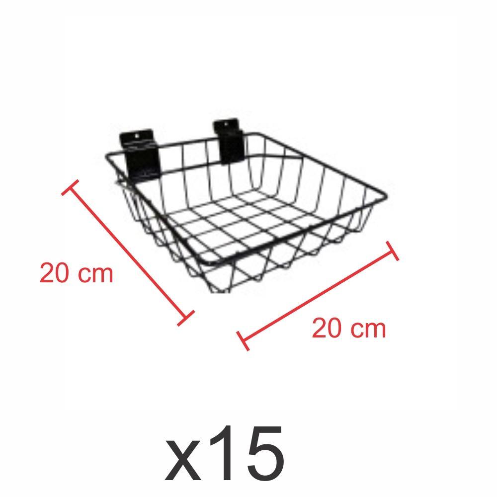 kit para expositor com 15 Cestos para painel canaletado 20x20 cm preto