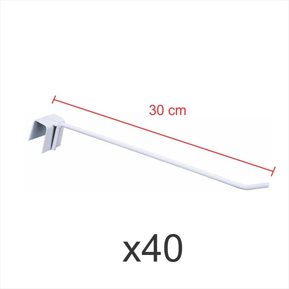 kit para expositor 40 ganchos 4mm branco de 30 cm para gondola para porta gancheira 20x20 e 20x40