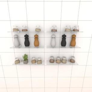 Kit com seis Prateleira para cozinha 40 cm vidro temperado