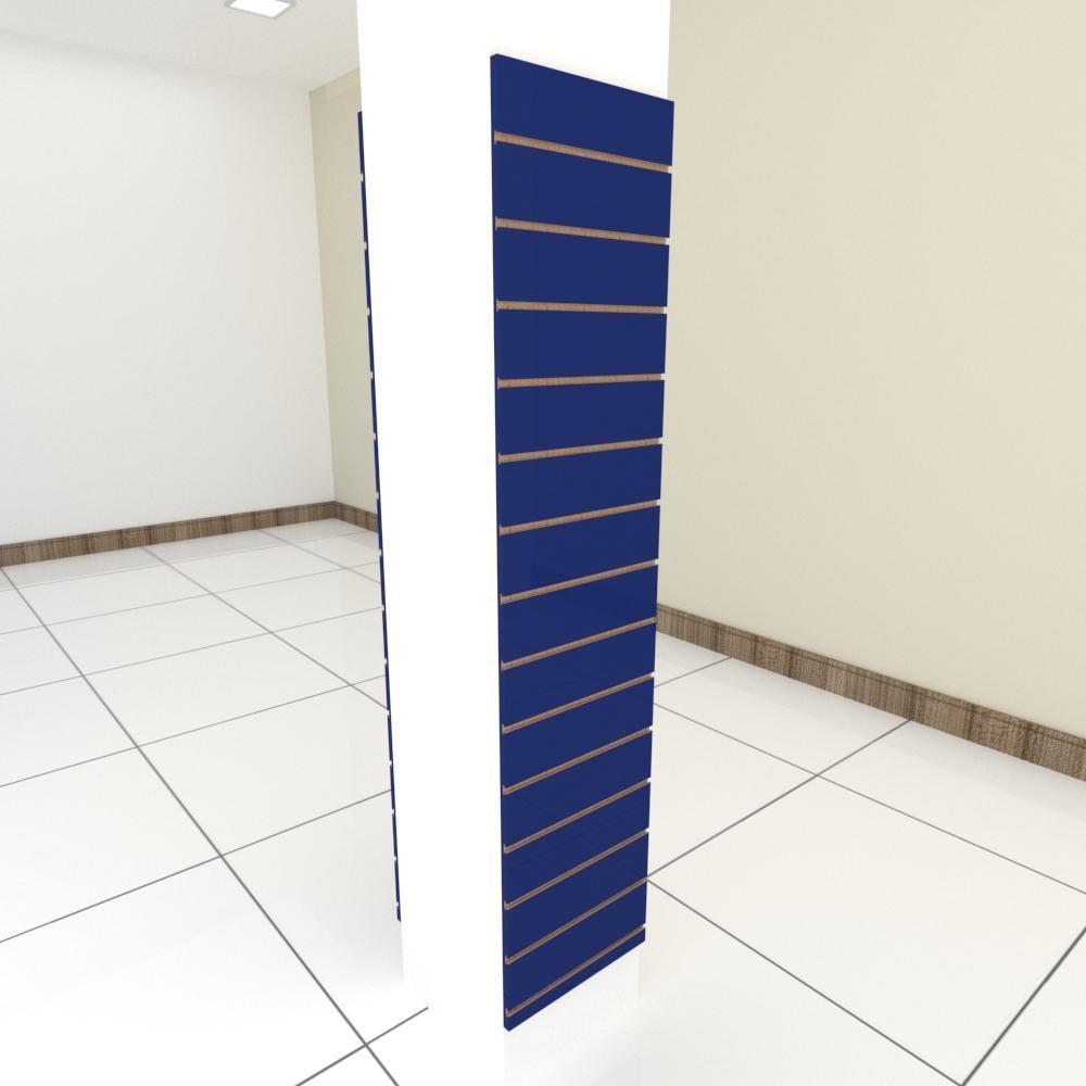 Kit 2 Painel canaletado para pilar azul escuro 2 peças 40(L)x180(A)cm