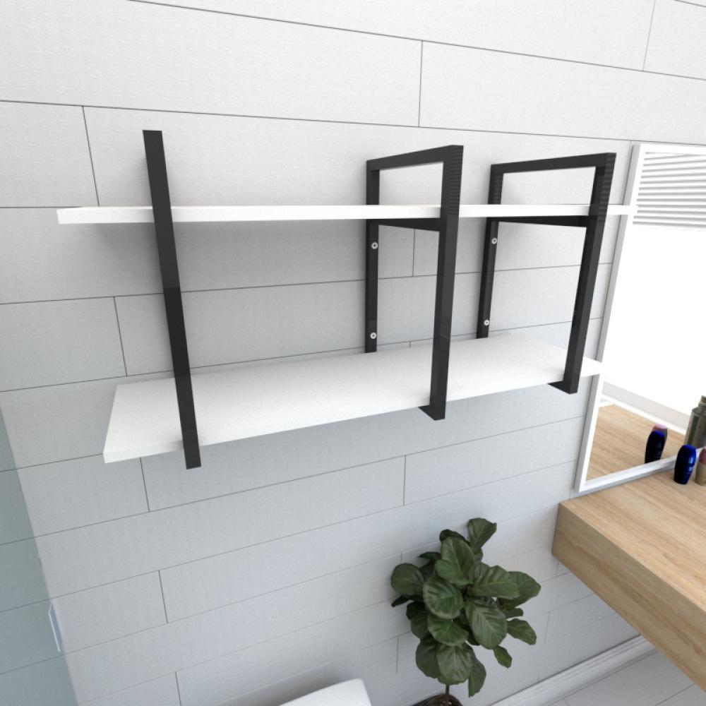 Prateleira industrial para banheiro aço cor preto prateleiras 30 cm cor branca modelo ind20bb