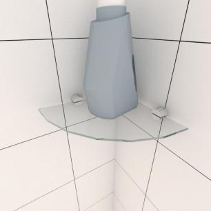 Kit com uma Prateleira para lavanderia de canto 20 cm vidro temperado