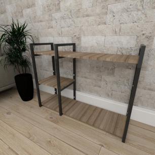 Mini estante industrial para escritório aço cor preto mdf 30cm cor amadeirado escuro mod ind16aeep