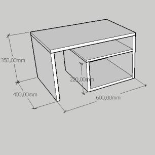 Mesa Lateral moderna simples com prateleiras em mdf amadeirado
