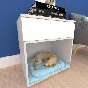 caminha criado cachorro cão gaveta mdf cinza branco