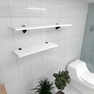 Kit 2 prateleiras banheiro em MDF suporte tucano branco 1 60x20cm 1 90x20cm modelo pratbnb17