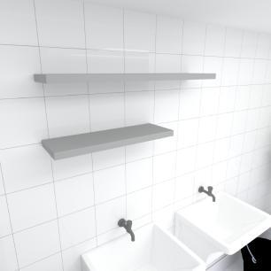 Kit 2 prateleiras lavanderia em MDF sup. Inivisivel cinza 1 60x20cm 1 90x20cm modelo pratlvc35