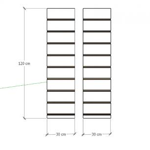 Kit 2 Painel canaletado para pilar cinza cristal 2 peças 30(L)x120(A)cm