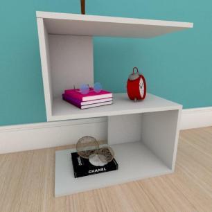 Kit com 2 Mesa de cabeceira compacta em formato de S em mdf cinza
