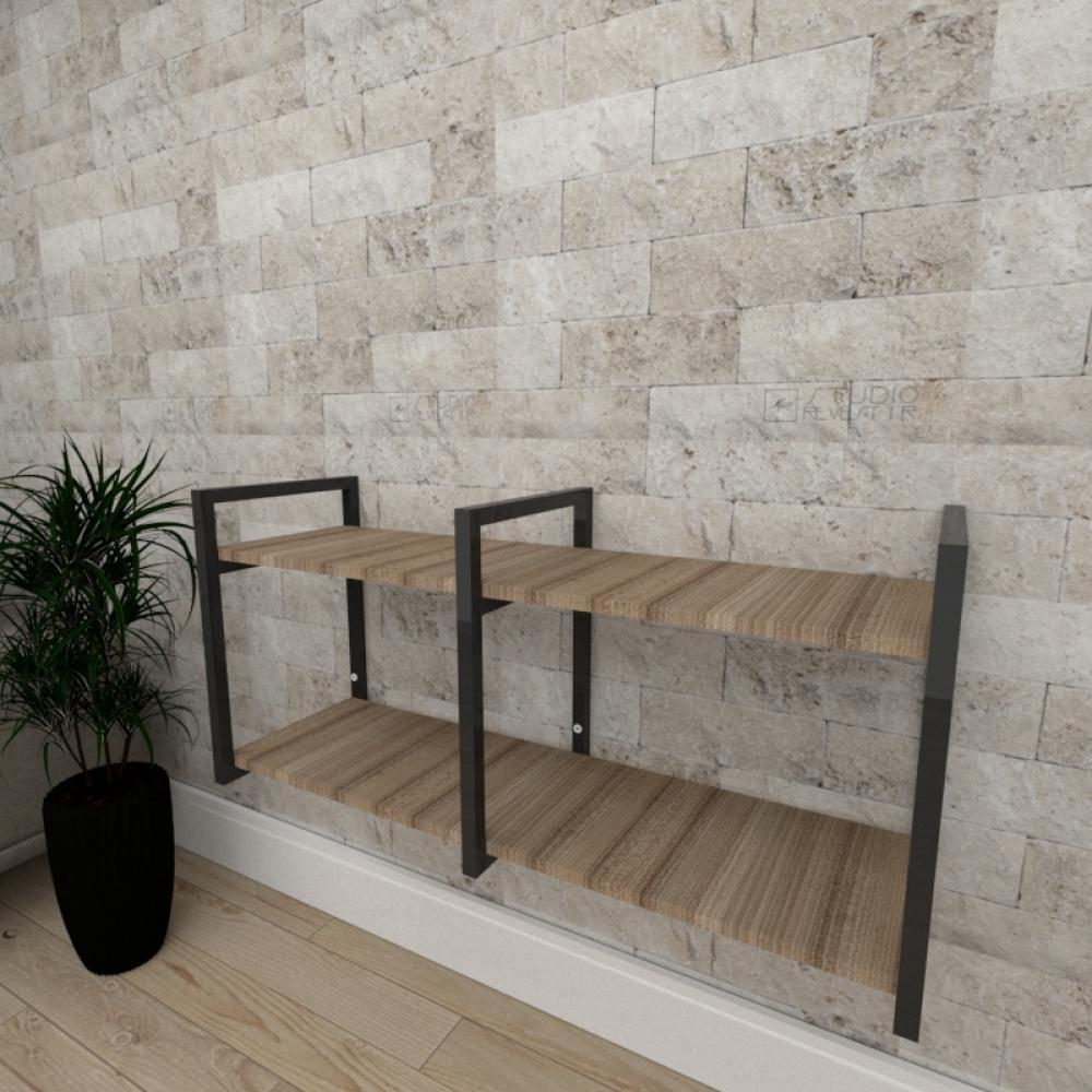 Mini estante industrial para escritório aço cor preto mdf 30cm cor amadeirado escuro mod ind22aeep