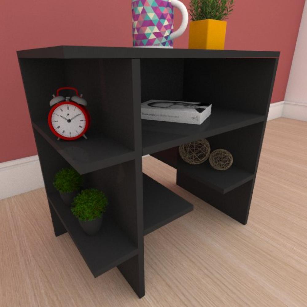 Mesa de cabeceira com prateleiras laterais em mdf preto