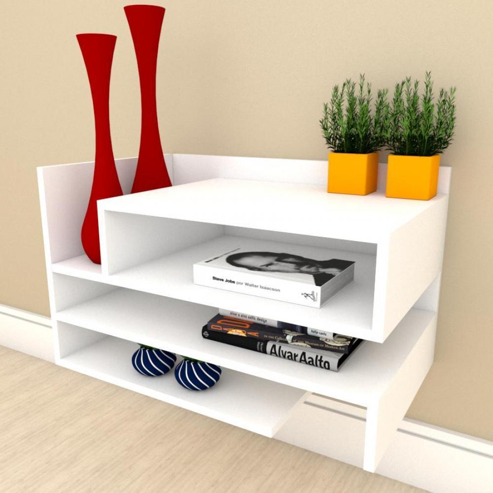 Estante Livros pequeno com nichos prateleiras em mdf Branco