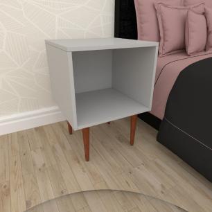 Mesa de Cabeceira moderna em mdf cinza com 4 pés retos em madeira maciça cor mogno