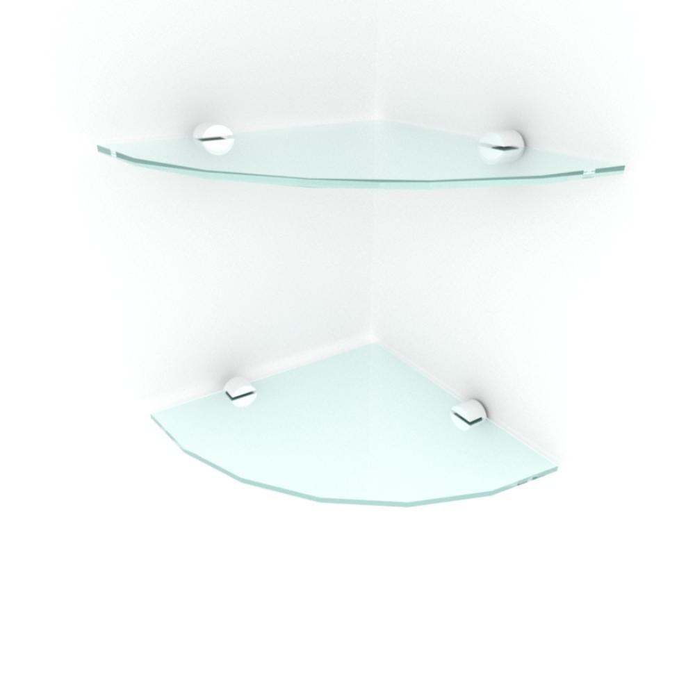 kit com 2 Prateleira para canto de vidro temperado para sala profundidade 20 cm