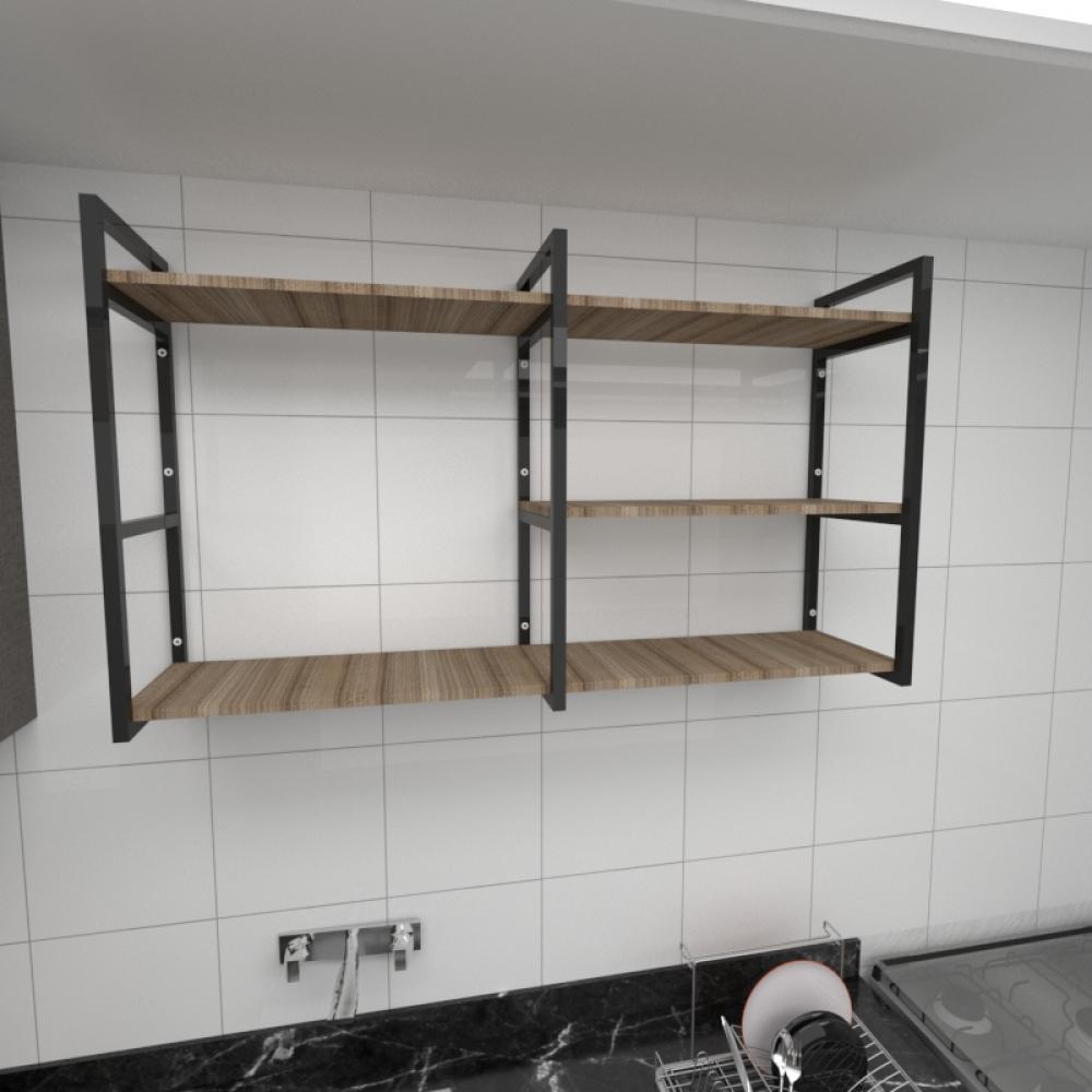 Prateleira industrial cozinha aço cor preto prateleiras 30cm cor amadeirado escuro mod ind14aec