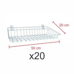 kit para expositor com 20 Cestos para painel canaletado 20x50 cm branco