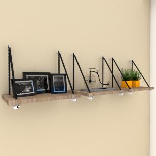 Kit com 3 Prateleiras moderna com cordas, mdf Amadeirado escuro