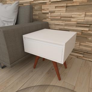 Mesa lateral com gaveta em mdf branco com 4 pés inclinados em madeira maciça cor mogno