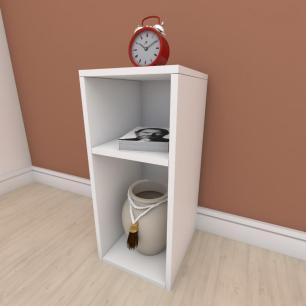 kit com 2 Mesa de cabeceira formato slim em mdf Branco