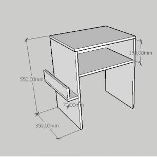 Mesa Lateral com prateleira para livro em mdf amadeirado