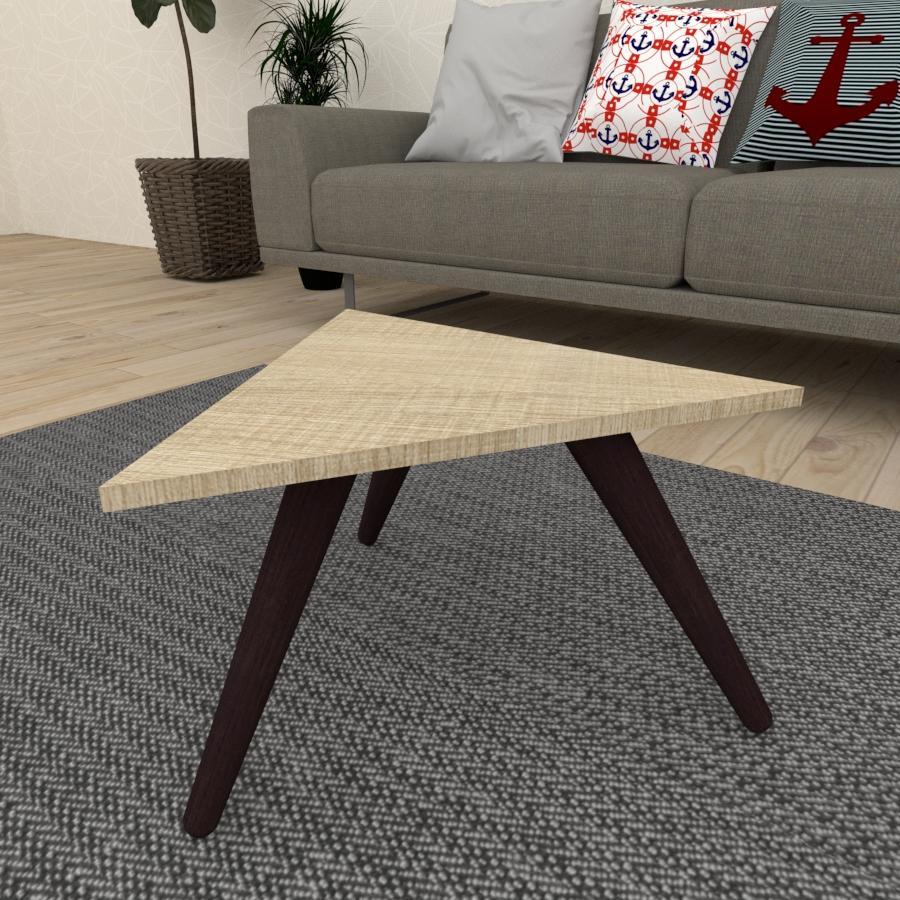 Mesa de Centro triangular em mdf amadeirado claro com 3 pés inclinados em madeira maciça cor tabaco