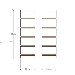 Kit 2 Painel canaletado para pilar azul escuro 2 peças 20(L)x60(A) cm