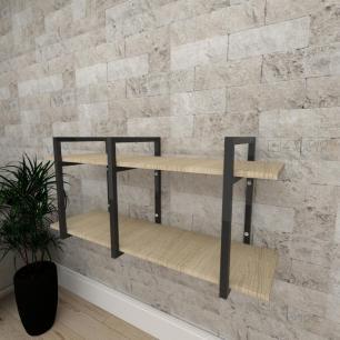 Mini estante industrial para escritório aço cor preto mdf 30cm cor amadeirado claro modelo ind20acep