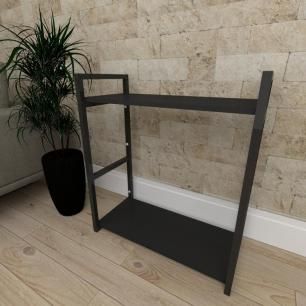 Mini estante industrial para sala aço cor preto prateleiras 30 cm cor preto modelo ind10peps