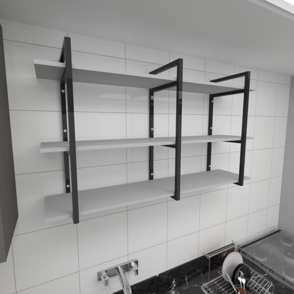 Prateleira industrial para cozinha aço cor preto prateleiras 30cm cor cinza modelo ind12cc